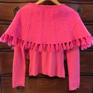Old Navy Pink Fuzzy Cable Knit Poncho/Cape L/XL